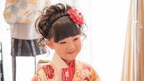 着物を着た子どもの簡単な髪型アレンジ。髪飾りなど工夫したこと