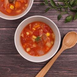 簡単時短レシピ。野菜いっぱい甘口ミネストローネ