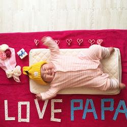 バレンタインデーに赤ちゃんのかわいい寝相アートを作ろう