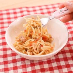 離乳食後期。レンジでできる!ナスとツナのトマト和えスパゲッティ