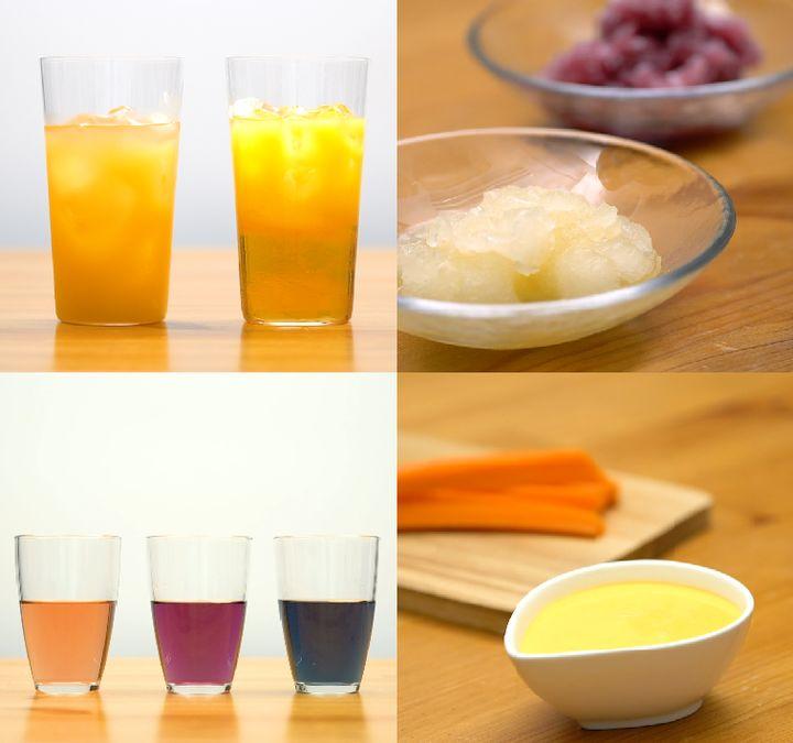 """左上/""""比重""""の実験 二層に分かれるドリンク、右上/塩と氷で凍らせる 冷凍庫いらずのシャーベット、左下/液体の性質の違いを利用する色が変わるドリンク、右下/""""乳化""""を観察しよう 手作りマヨネーズ"""