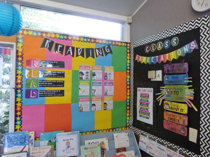 小学校の教室内の壁には科目ごとの学習内容が常に掲示されている。(Classroom in NZ primary school. ©Kiwi-J-Ana Ltd. 2010-2020)