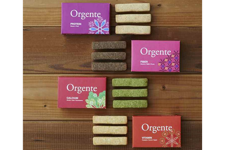 Orgente ビタミンタイプ、カルシウムタイプ、食物繊維タイプ、タンパク質タイプ すべて500円(税抜)