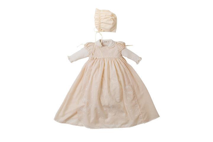 Amorosa mamma オーガニックフローラルレースのセレモニー3点セット 23,650(税込)兼用ドレス・オーバードレス:サイズ50~60/ボンネット:サイズ42