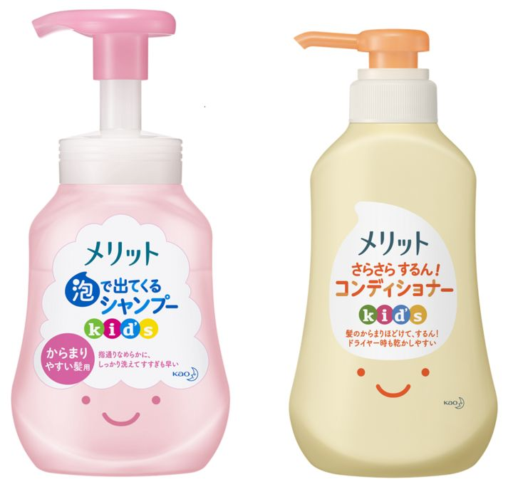 左/メリット 泡で出てくるシャンプーキッズ からまりやすい髪用 300ml/替え 240ml、右/メリット さらさらするん!コンディショナーキッズ 360ml/替え 285ml
