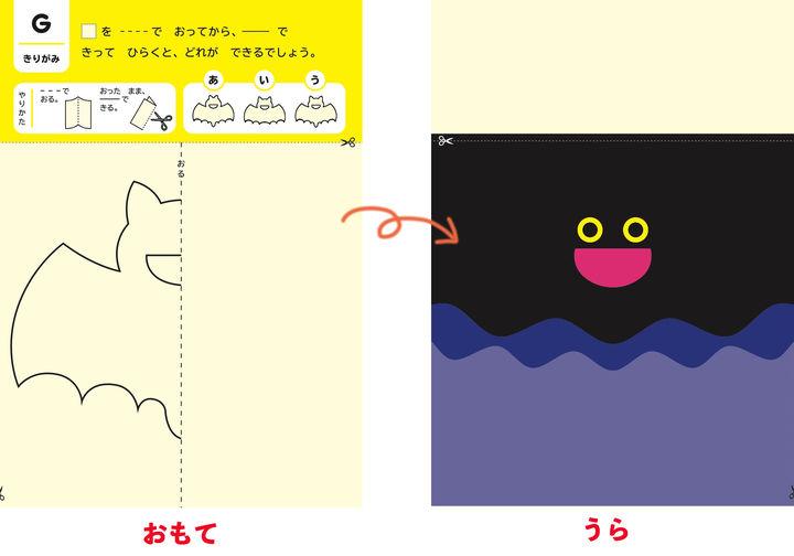 表は折り線と切り線の指示、裏はナゾのイラスト。表の線で切ると作品に仕上がる/「4~6歳むずかしい」より