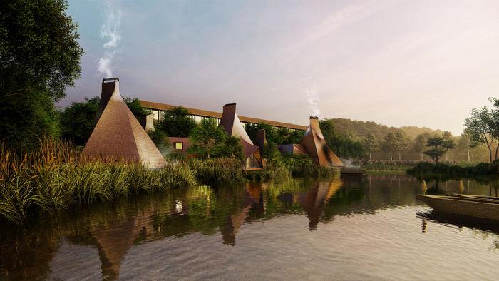 ポロト湖から「界 ポロト」を望むイメージ(Hiroshi Nakamura&NAP)