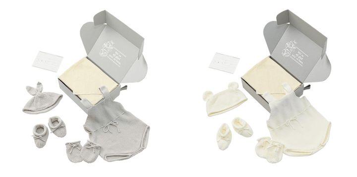 オーガニックコットン新生児全身コーデセット「MOY newborn box」 全2色(左から1 bunny cloud / 2 bear milk)各11,000円(税込)