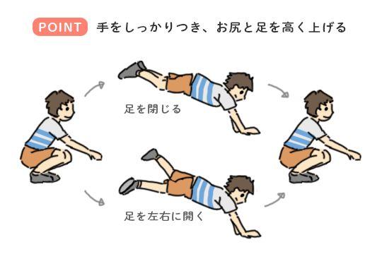 跳び箱の練習につながる遊び「うさぎ跳び」