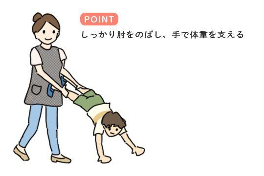 跳び箱の練習につながる遊び「手押し車」