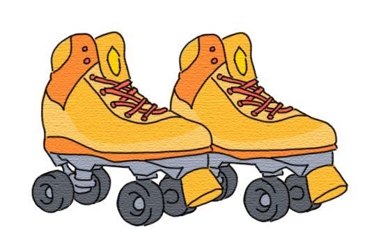 前後左右にタイヤが4個ついていて靴とタイヤが一体となっている