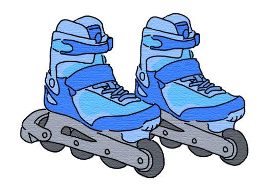 「インラインスケート」タイヤが縦一列に数個並んでいる