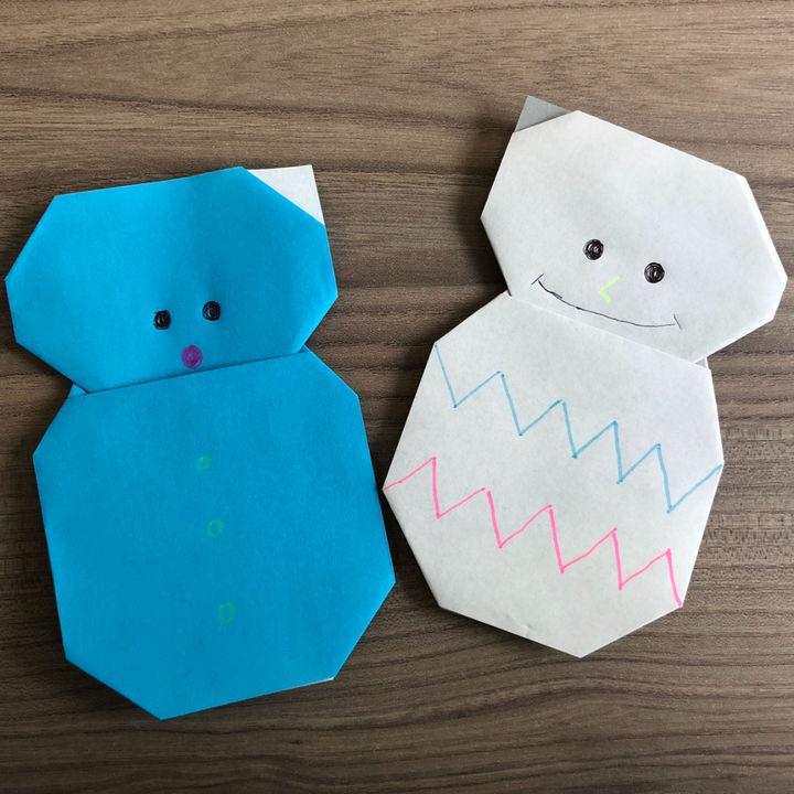 折り紙「雪だるま」の折り方。子どもも大人も簡単に作れる手順