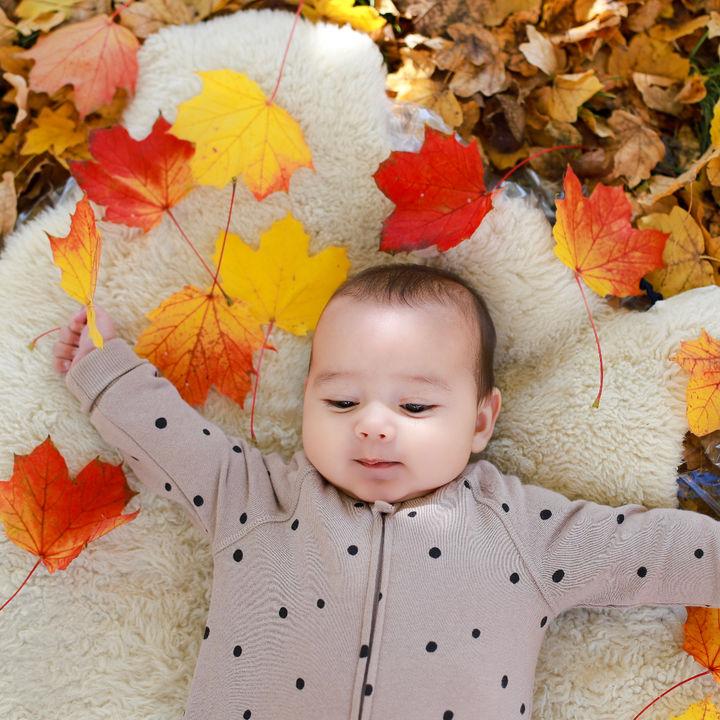 11月の秋らしさを寝相アートで表現!ママとパパのアイデア集
